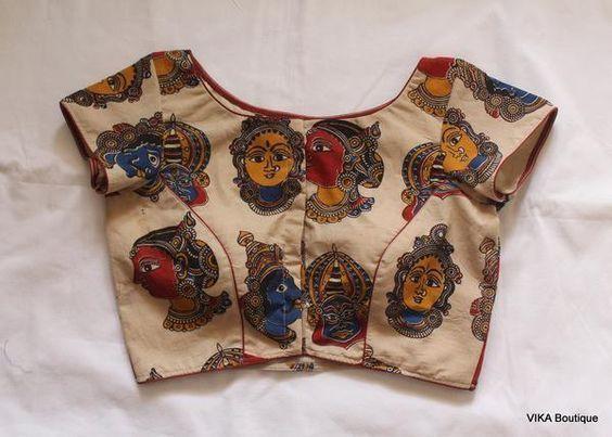 Kalamkari Saree Work Blouse Designs (191)