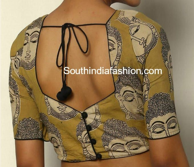 Kalamkari Saree Work Blouse Designs (193)