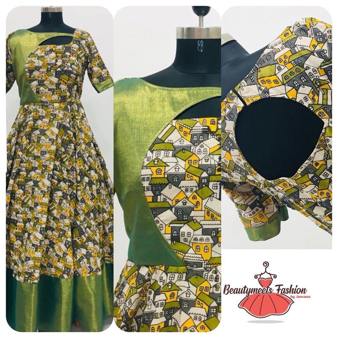 Kalamkari Saree Work Blouse Designs (196)