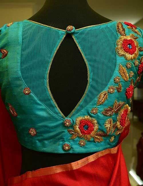 Kalamkari Saree Work Blouse Designs (199)