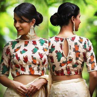 Kalamkari Saree Work Blouse Designs (200)