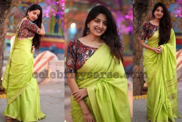 Kalamkari Saree Work Blouse Designs (203)