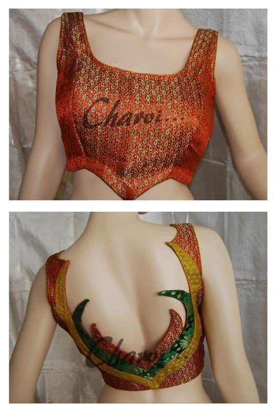 Kalamkari Saree Work Blouse Designs (208)