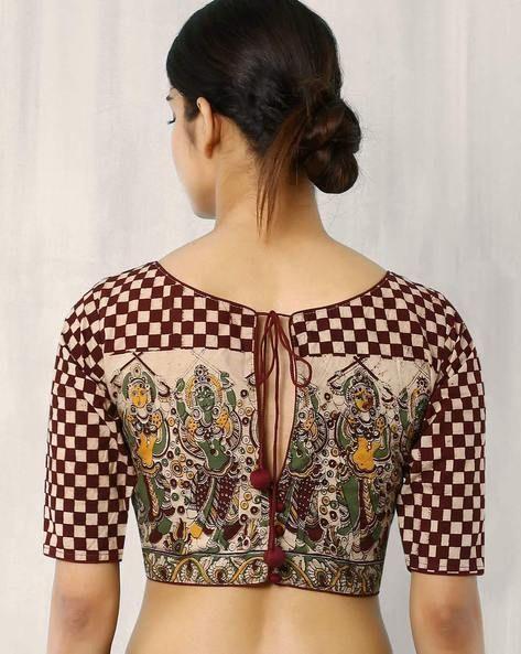 Kalamkari Saree Work Blouse Designs (210)