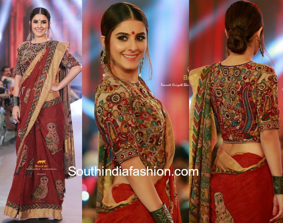 Kalamkari Saree Work Blouse Designs (218)
