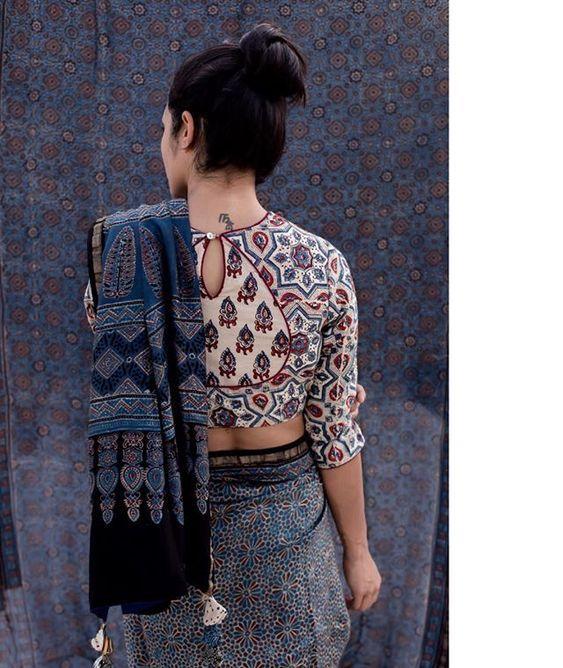 Kalamkari Saree Work Blouse Designs (219)