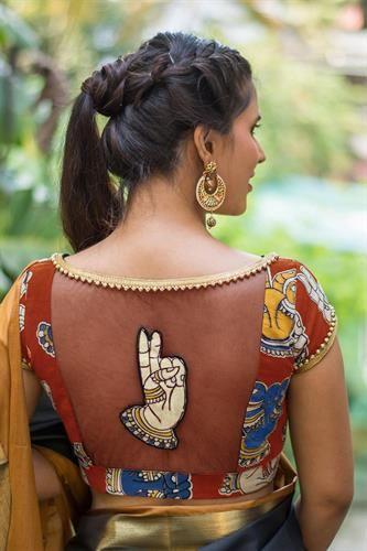 Kalamkari Saree Work Blouse Designs (224)