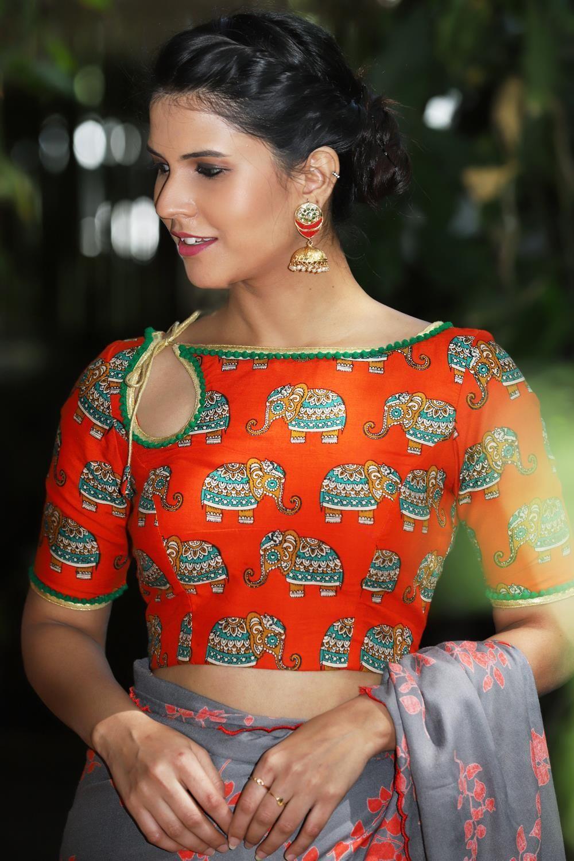 Kalamkari Saree Work Blouse Designs (226)