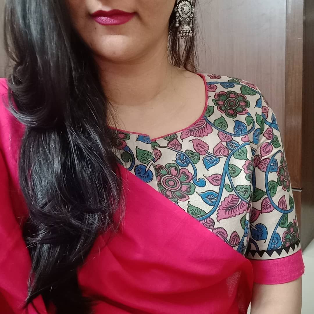Kalamkari Saree Work Blouse Designs (229)