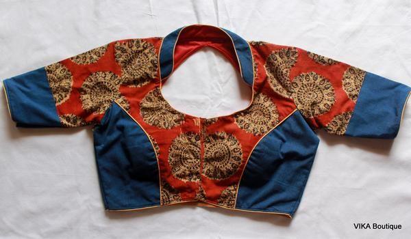 Kalamkari Saree Work Blouse Designs (24)