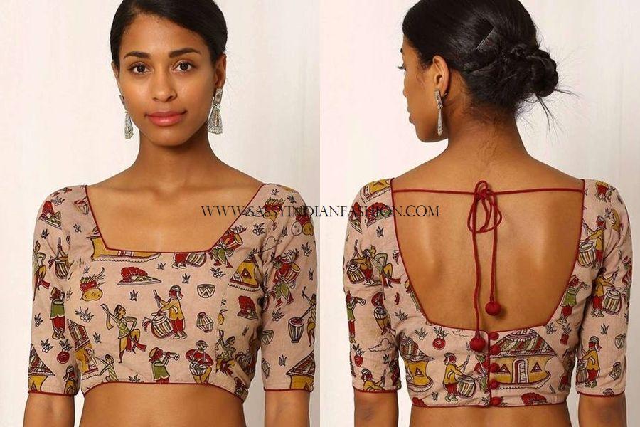 Kalamkari Saree Work Blouse Designs (26)
