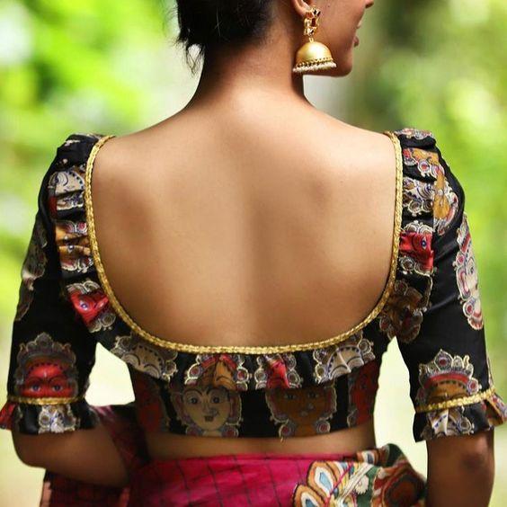 Kalamkari Saree Work Blouse Designs (28)