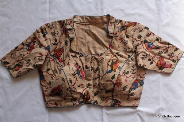Kalamkari Saree Work Blouse Designs (35)