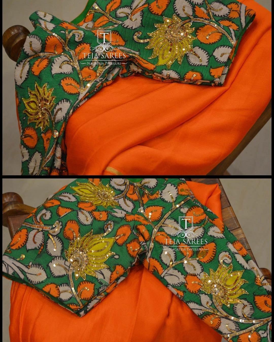 Kalamkari Saree Work Blouse Designs (50)