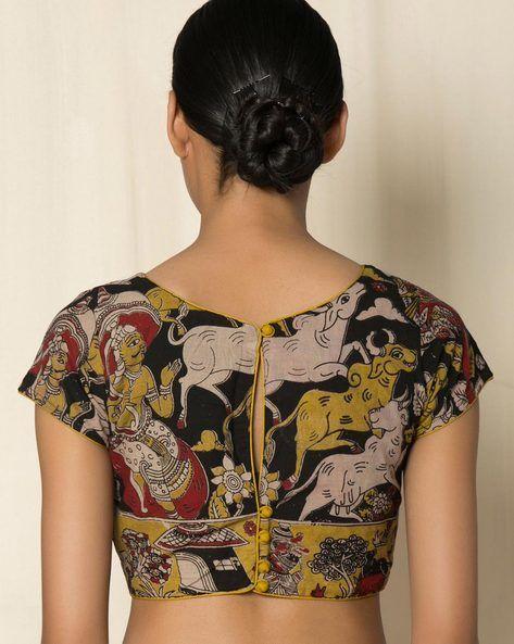 Kalamkari Saree Work Blouse Designs (53)