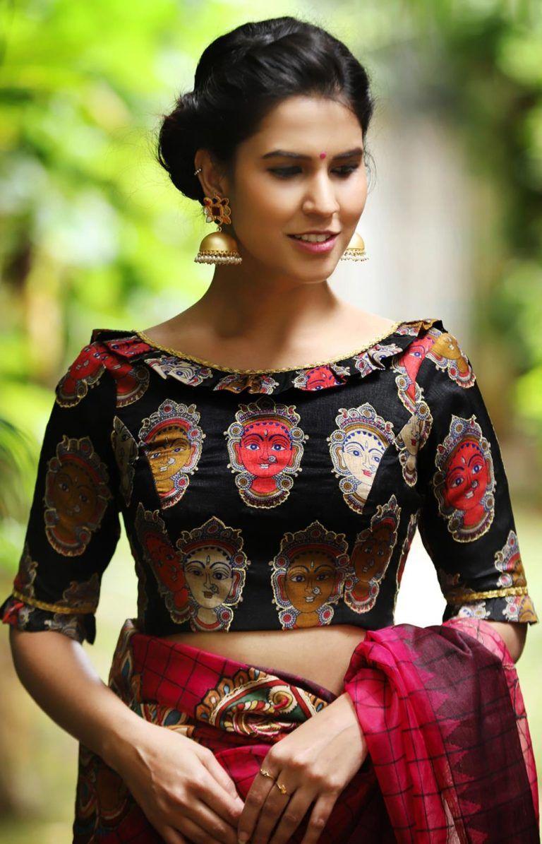 Kalamkari Saree Work Blouse Designs (58)