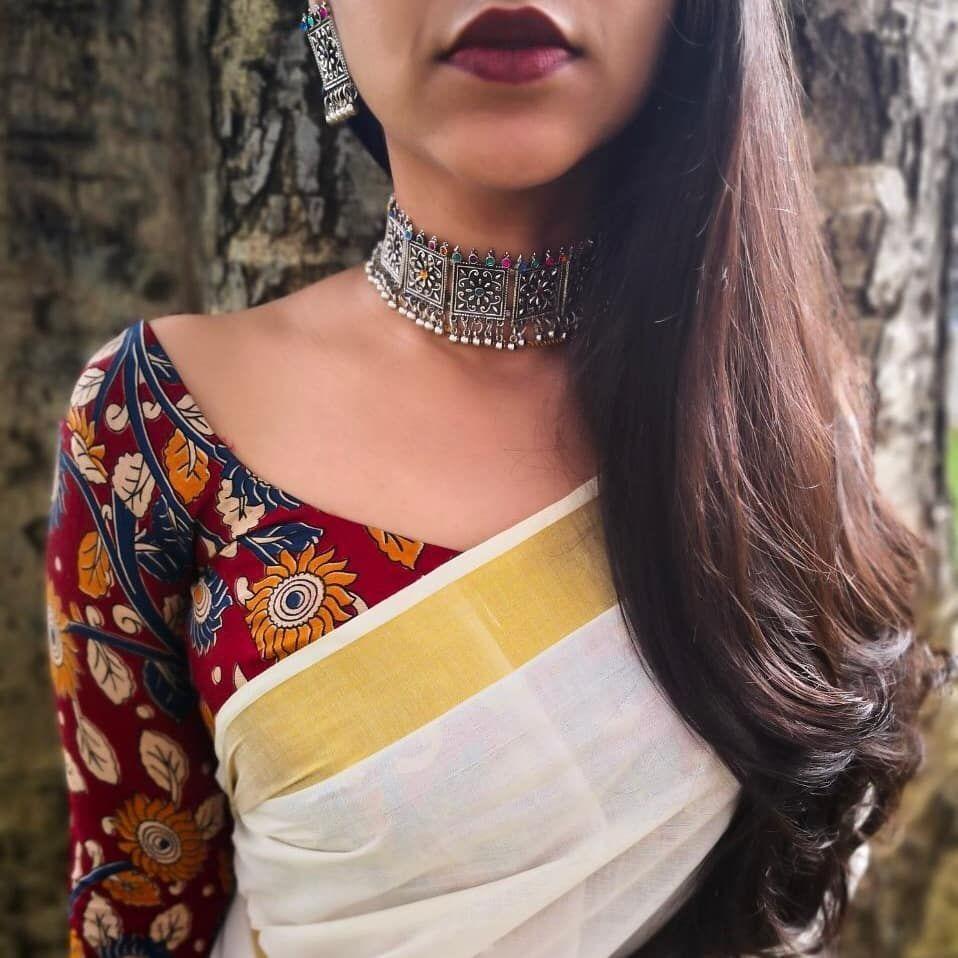 Kalamkari Saree Work Blouse Designs (61)