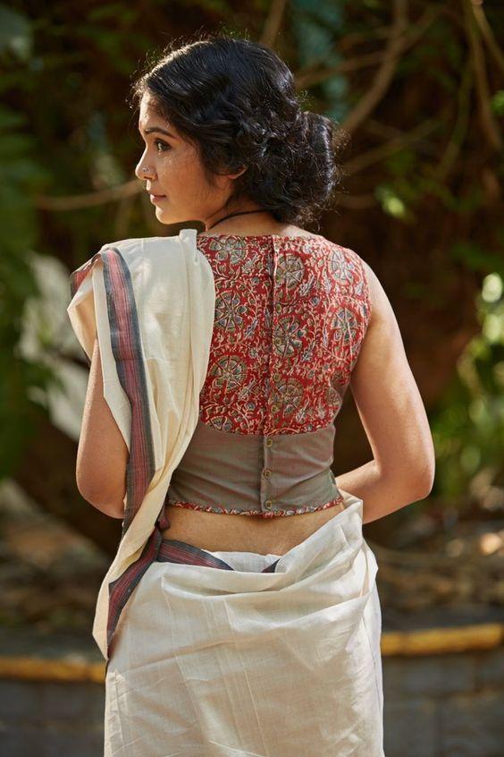 Kalamkari Saree Work Blouse Designs (62)