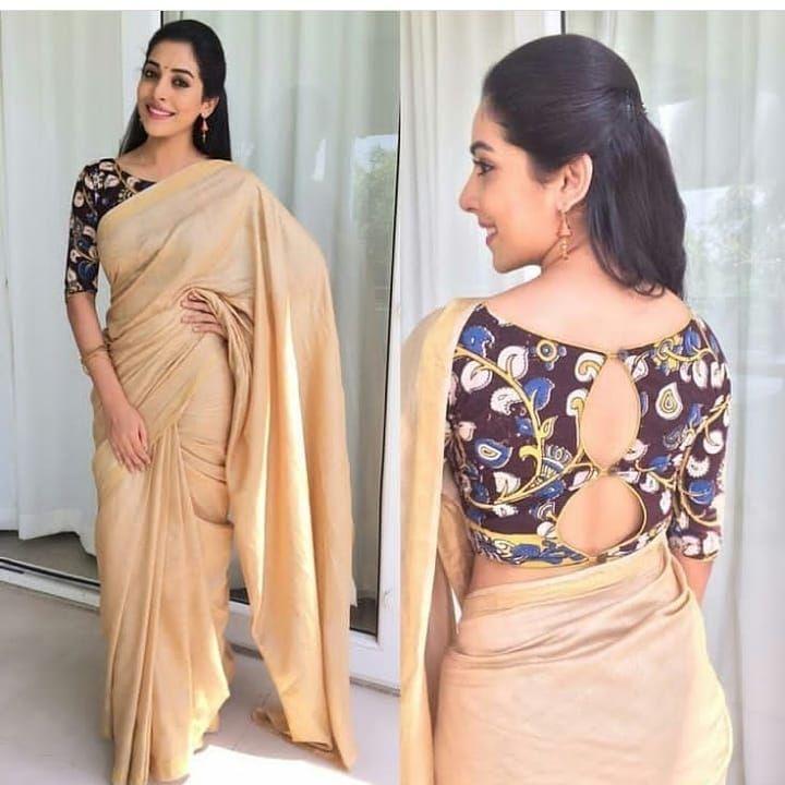 Kalamkari Saree Work Blouse Designs (64)