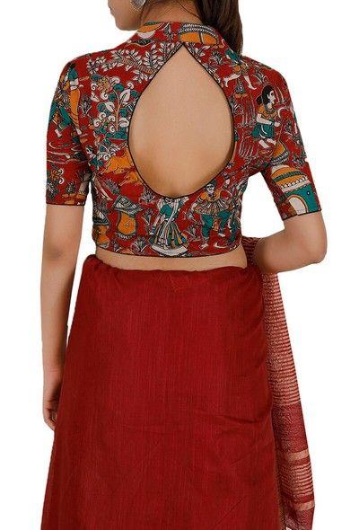 Kalamkari Saree Work Blouse Designs (70)