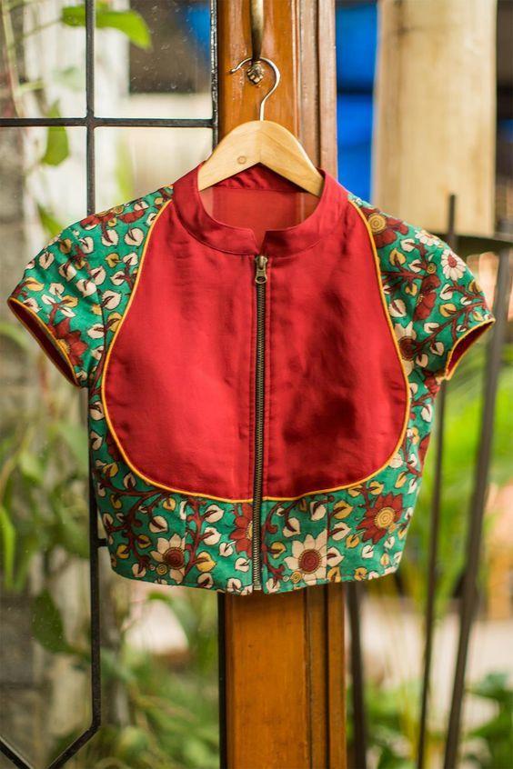 Kalamkari Saree Work Blouse Designs (76)