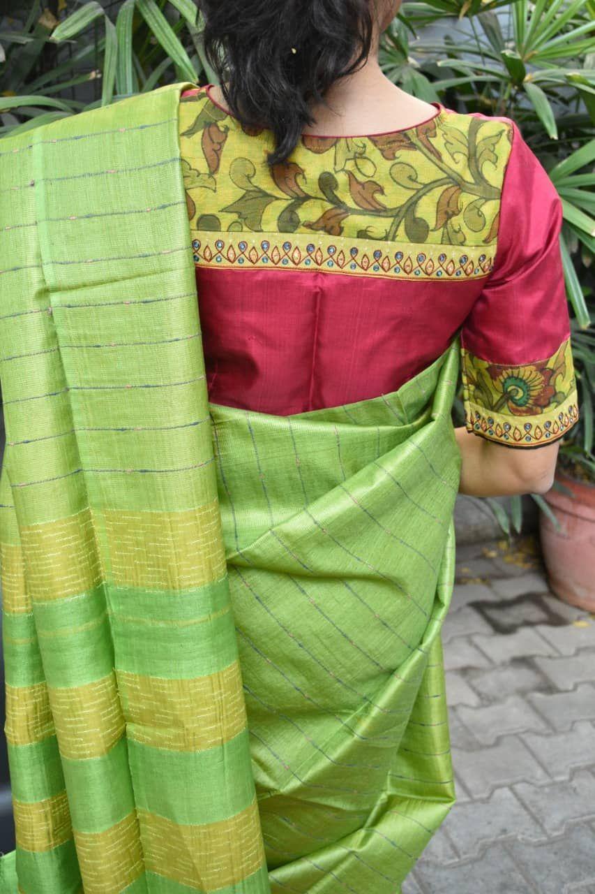 Kalamkari Saree Work Blouse Designs (82)