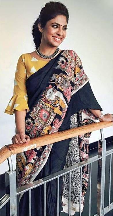 Kalamkari Saree Work Blouse Designs (85)