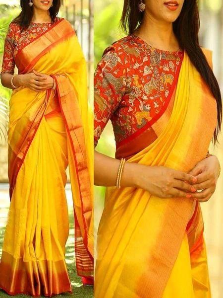 Kalamkari Saree Work Blouse Designs (88)