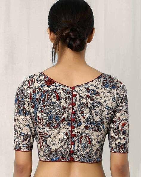 Kalamkari Saree Work Blouse Designs (91)