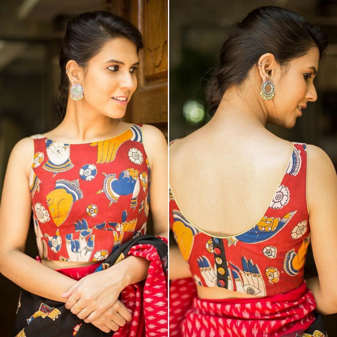 Kalamkari Saree Work Blouse Designs (92)