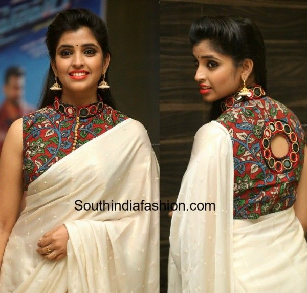 Kalamkari Saree Work Blouse Designs (96)