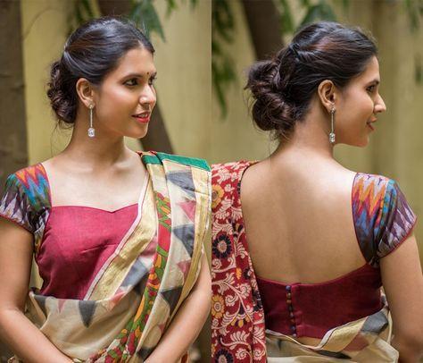 plain saree with kalamkari blouse online