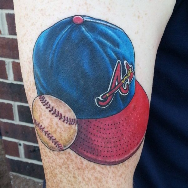 Baseball Tattoo Player Cross Bat (103)