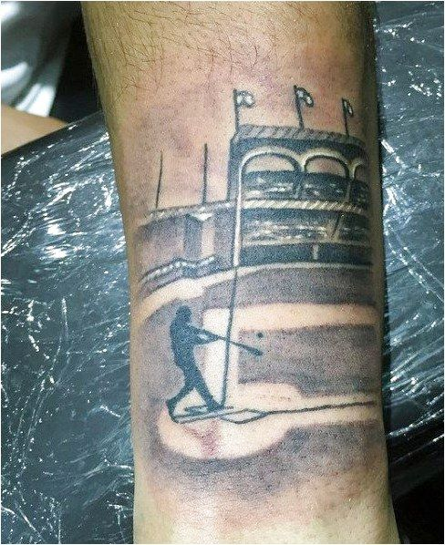 Baseball Tattoo Player Cross Bat (115)