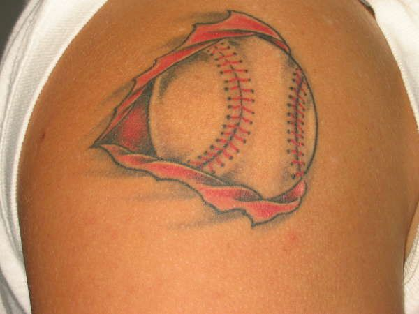 Baseball Tattoo Player Cross Bat (127)