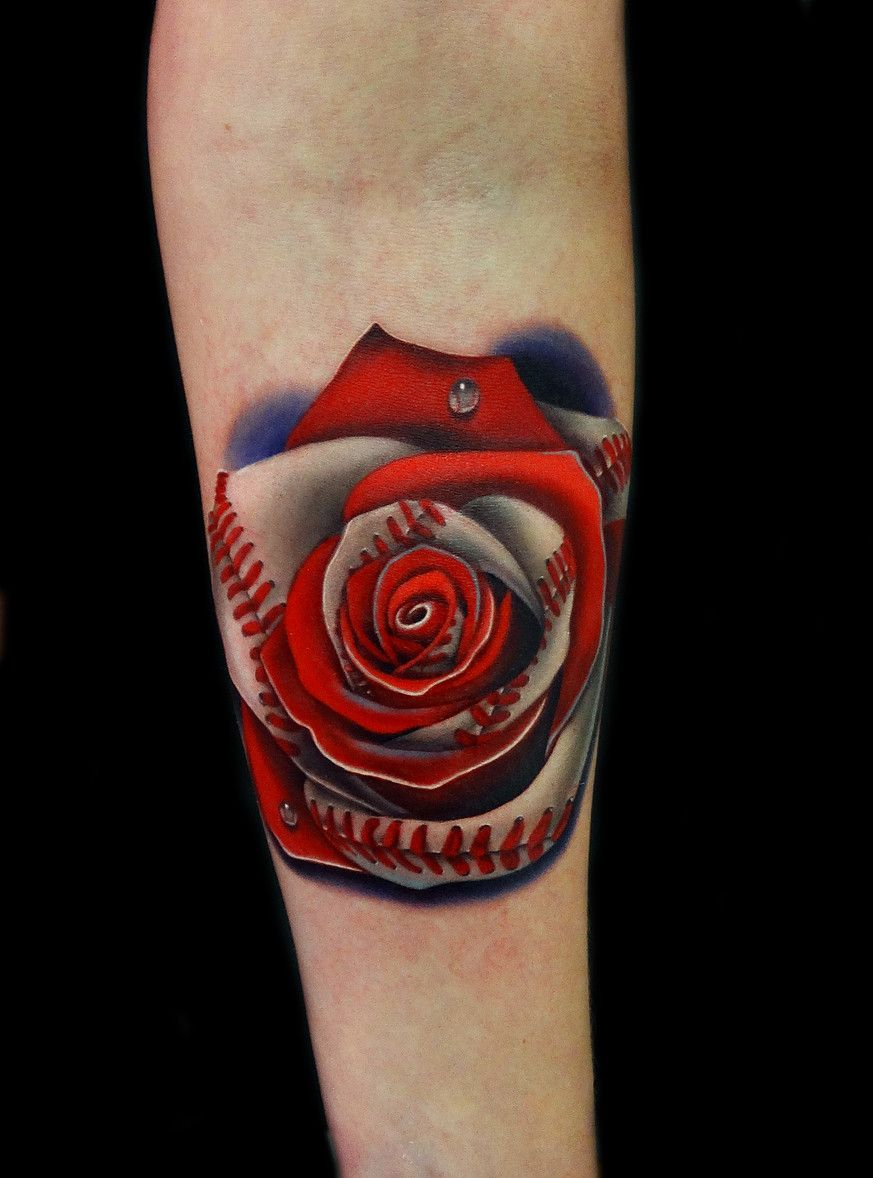 Baseball Tattoo Player Cross Bat (13)