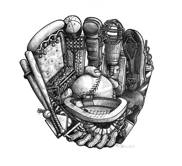 Baseball Tattoo Player Cross Bat (135)