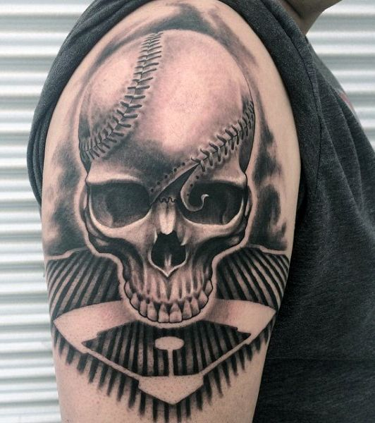Baseball Tattoo Player Cross Bat (140)