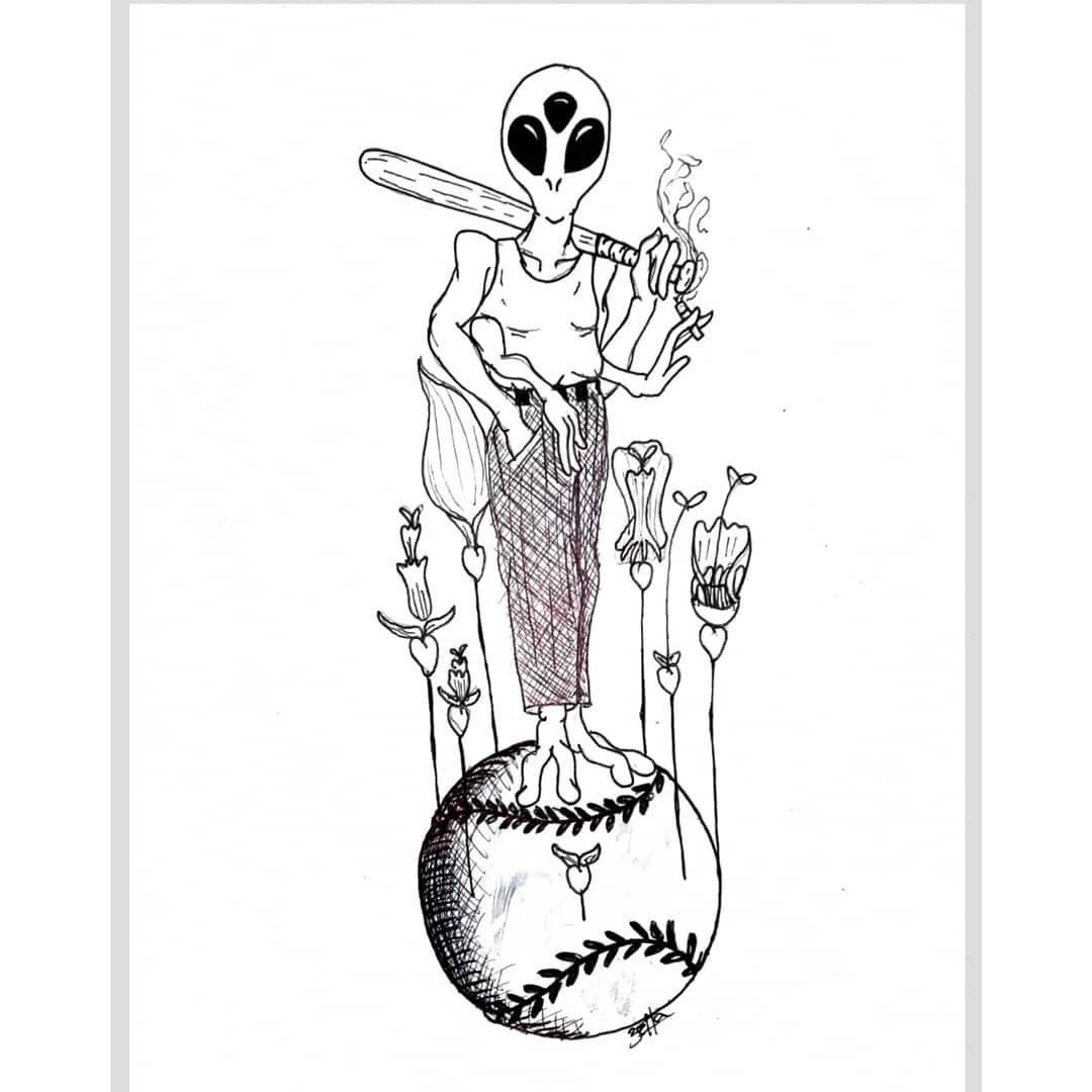 Baseball Tattoo Player Cross Bat (142)