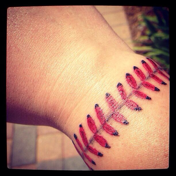 Baseball Tattoo Player Cross Bat (15)