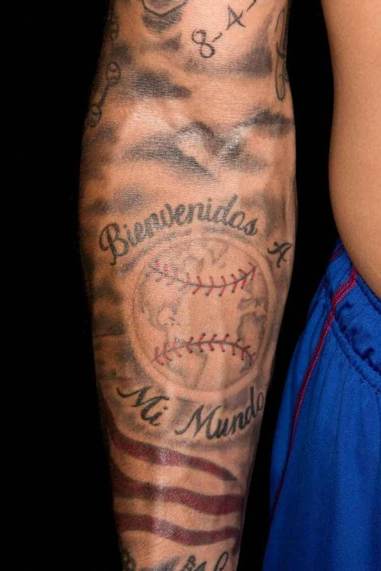 Baseball Tattoo Player Cross Bat (169)