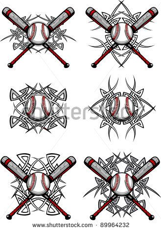 Baseball Tattoo Player Cross Bat (175)