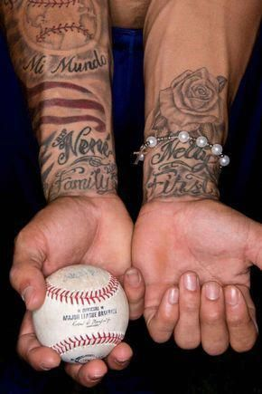 Baseball Tattoo Player Cross Bat (177)