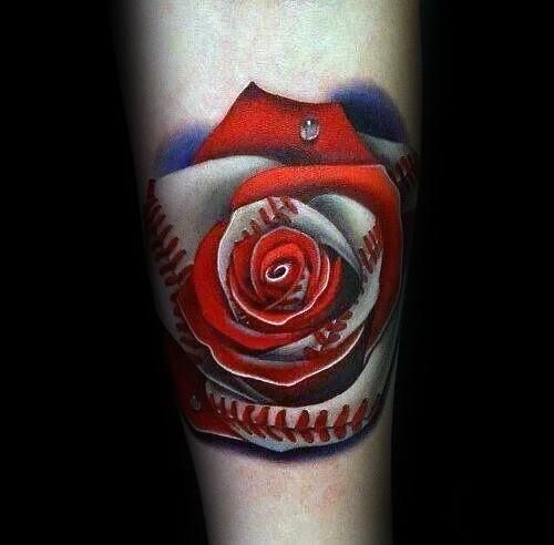 Baseball Tattoo Player Cross Bat (179)