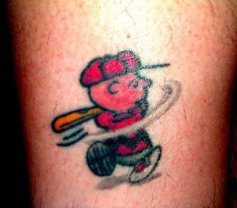 Baseball Tattoo Player Cross Bat (7)