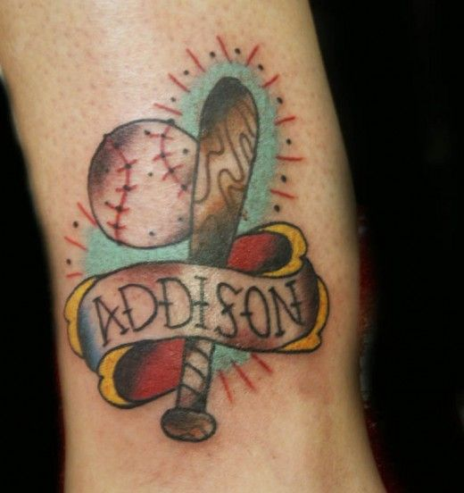 Baseball Tattoo Player Cross Bat (90)