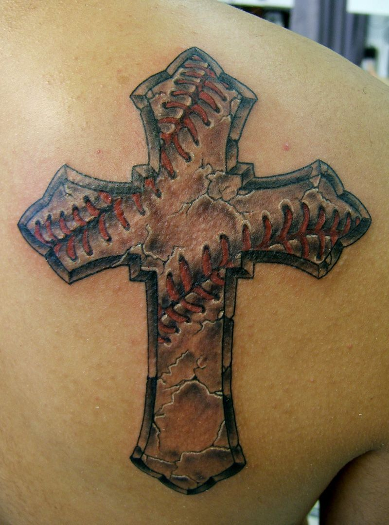 Baseball Tattoo Player Cross Bat (93)