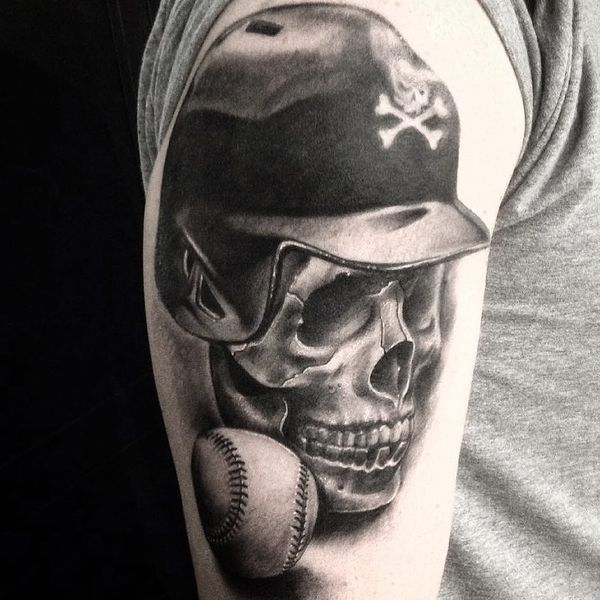 Baseball Tattoo Player Cross Bat (95)