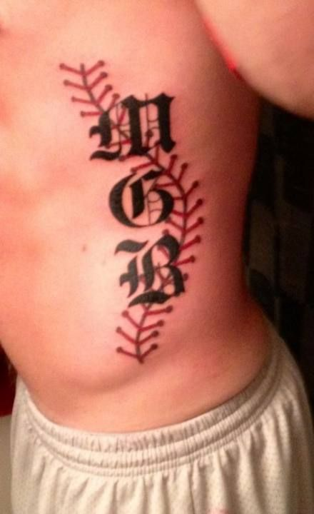Baseball Tattoo Player Cross Bat (99)