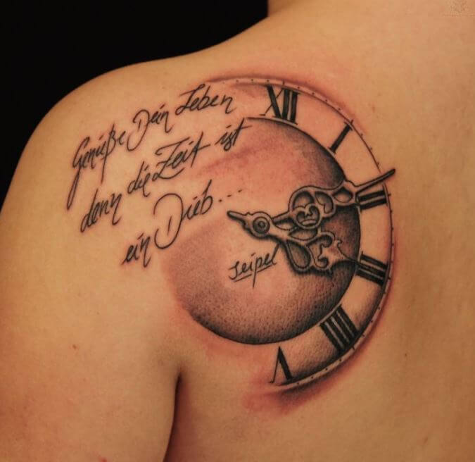 Clock Tattoo For Girls